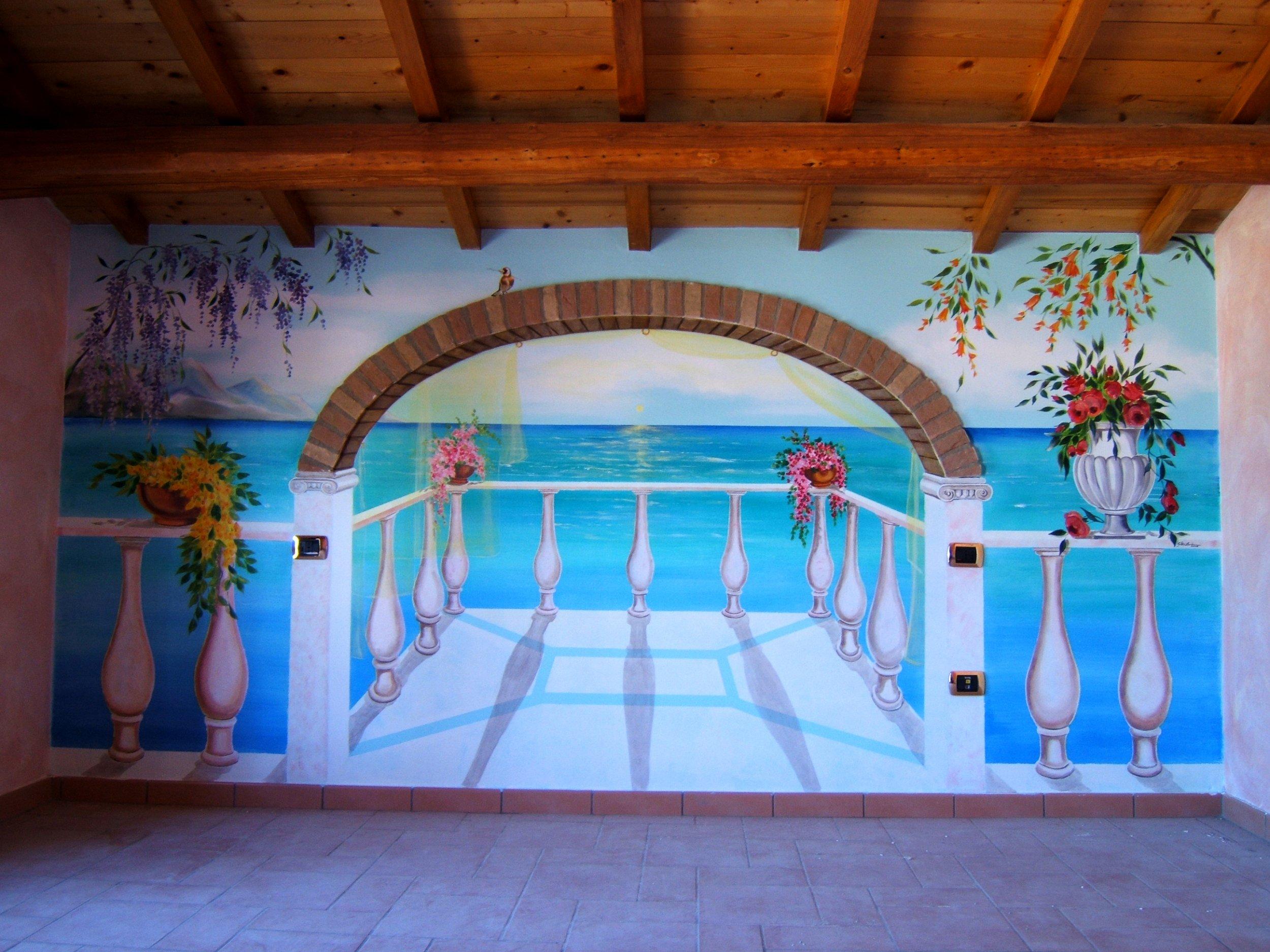 Trompe l 39 oeil su muro barbara ghisi opera celeste network - Parete testata letto dipinta ...