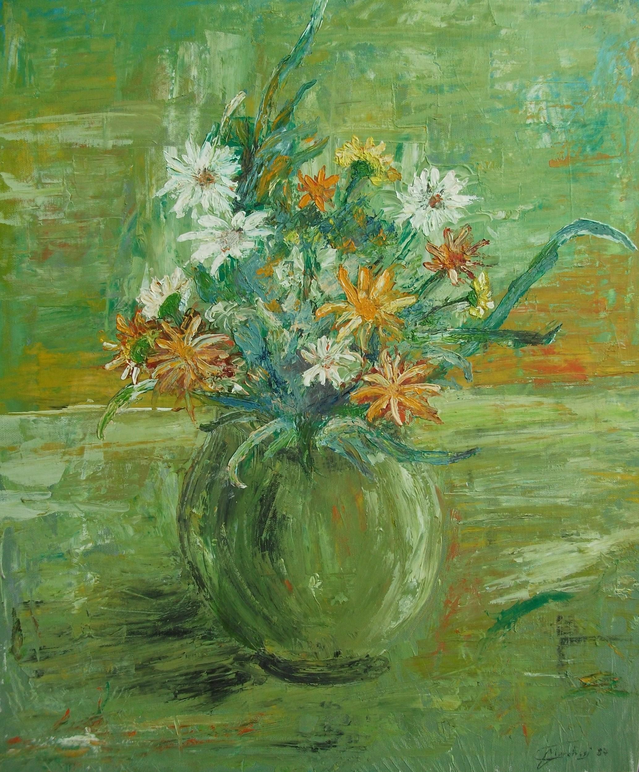 Vaso di fiori olio su tela 1987 gianpaolo marchesi for Fiori ad olio