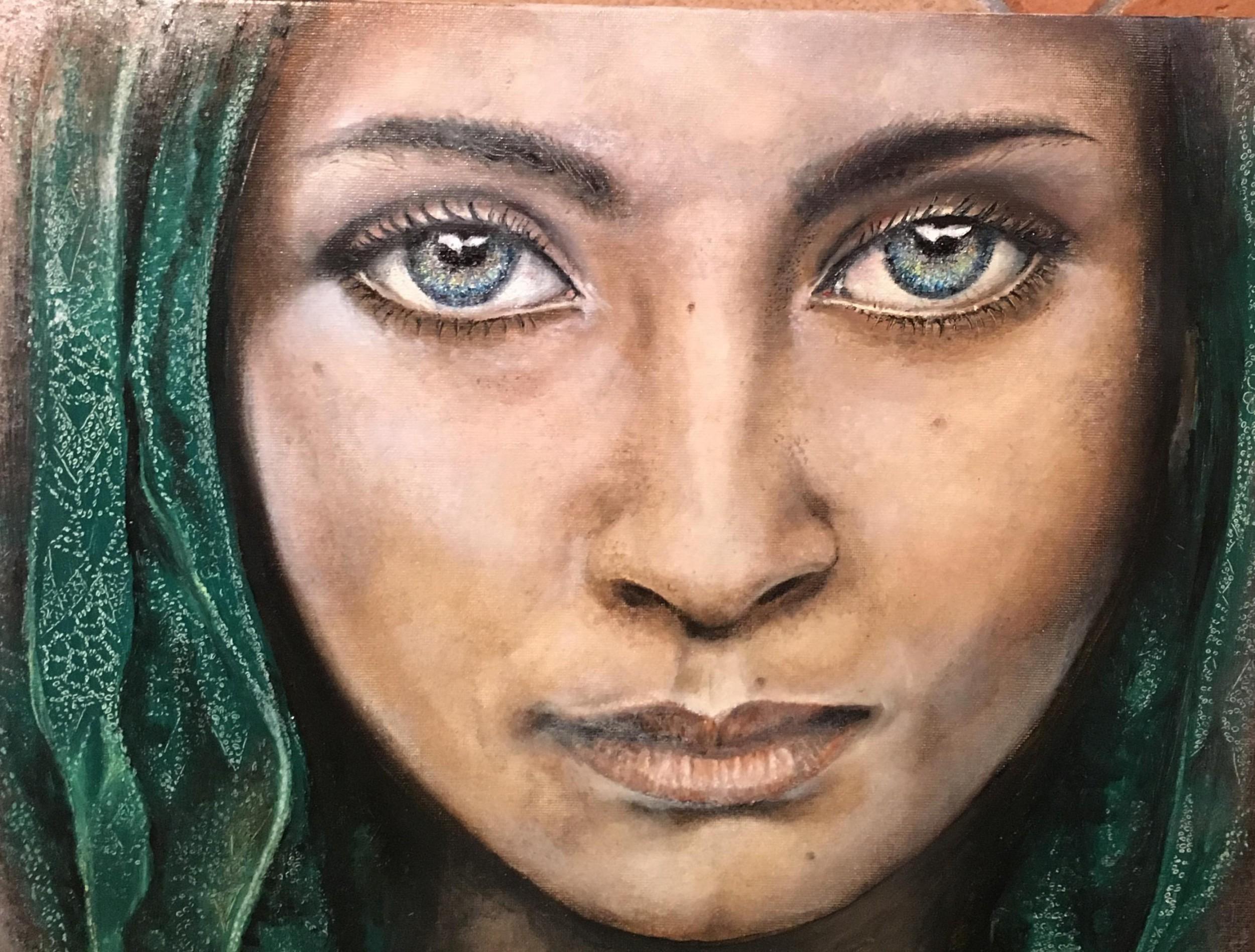 La ragazza dal copricapo verde ispirata da una foto di for Steve mccurry ancona