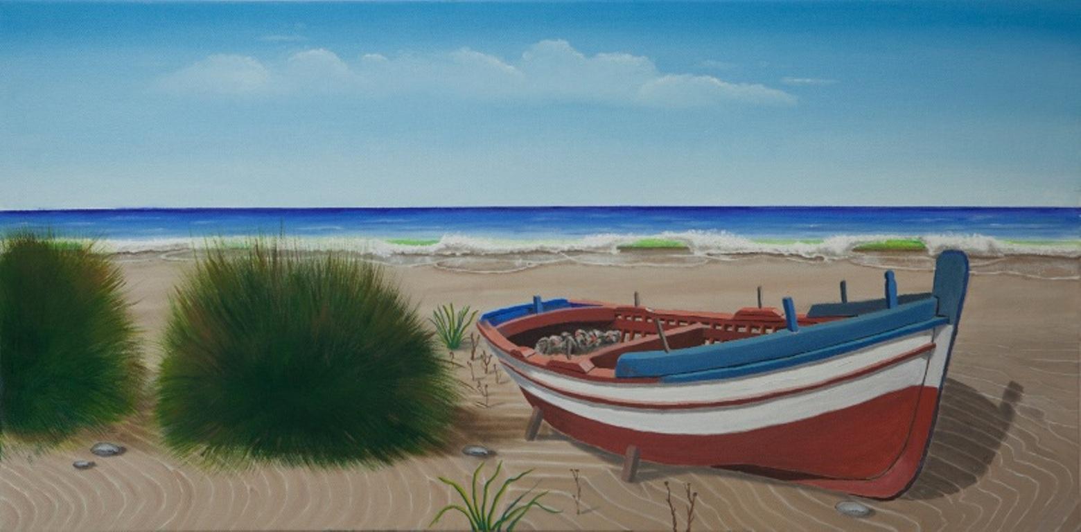 Spiaggia con barca damiano opera celeste network for Disegni marini da stampare
