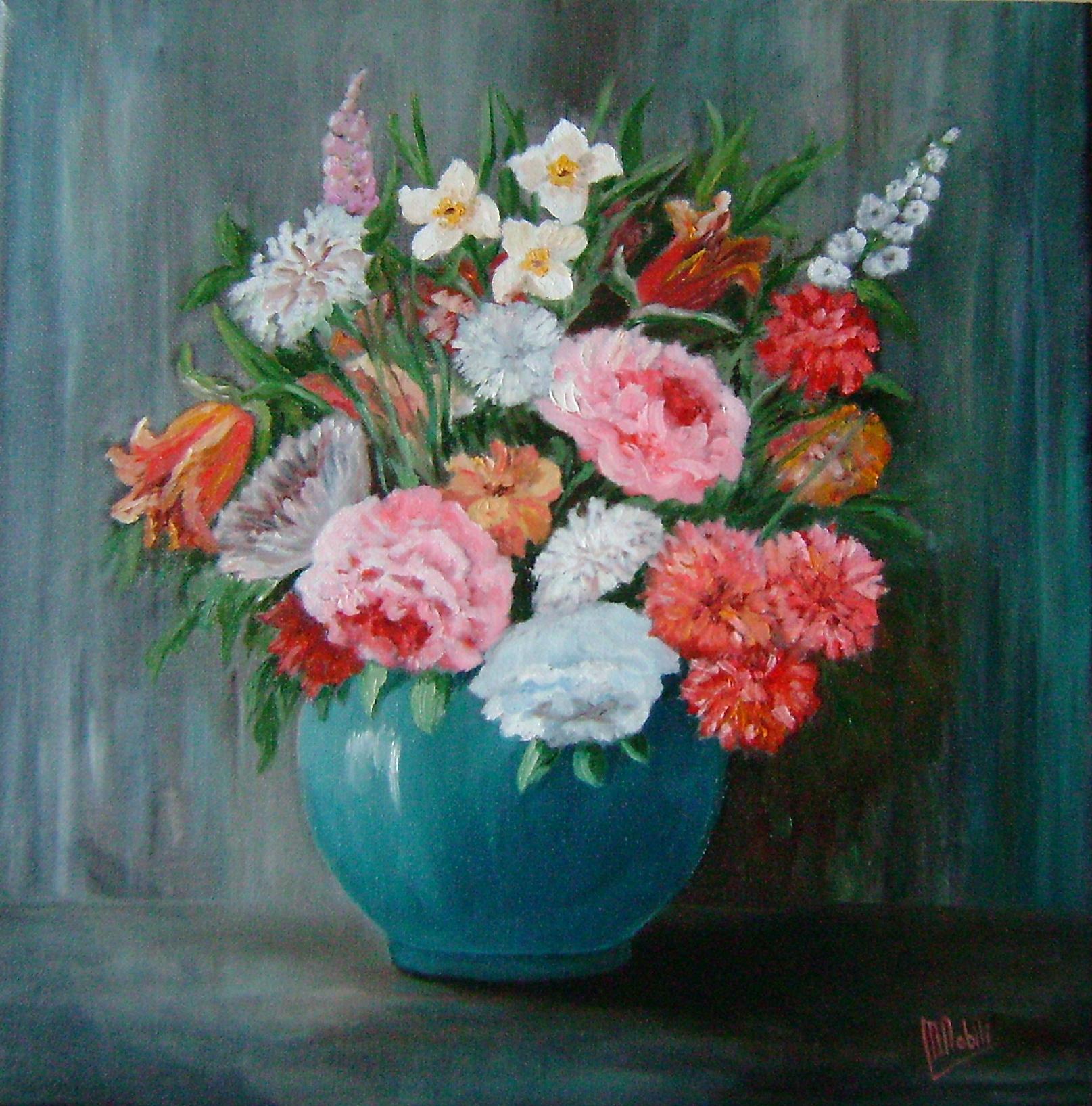 Vaso con fiori maria nobili opera celeste network for Fiori dipinti a olio