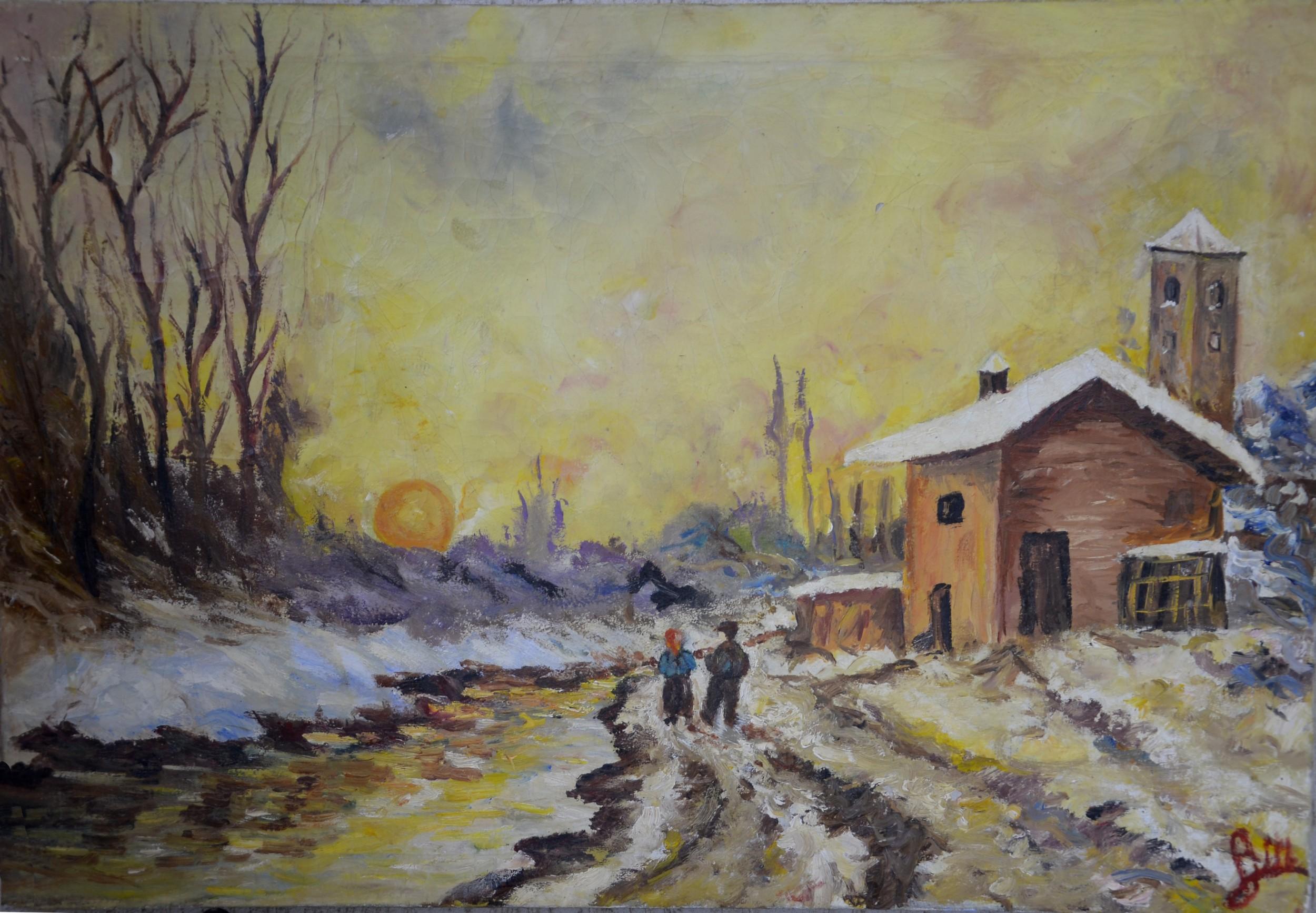 Paesaggio invernale anna maria peluso opera celeste for Disegni paesaggio invernale