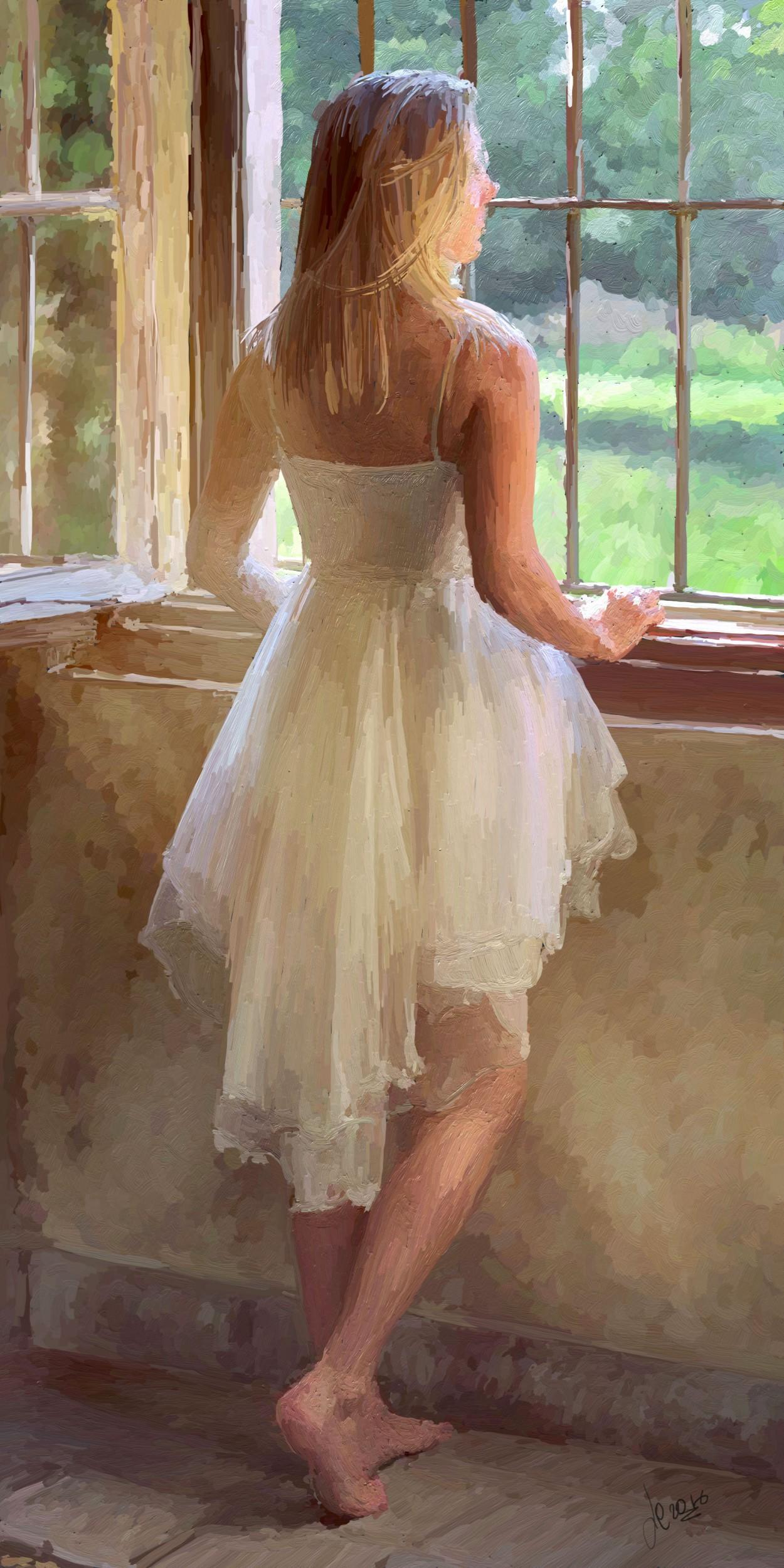 La ragazza alla finestra luciano curtarello opera for Ragazza alla finestra quadro