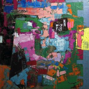 Fabio Modica | Prisoner of matter II - mixed media on canvas - cm 95x95 - 37,5x37,5 inches - Lowe Gallery - USA