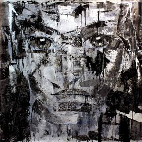 Fabio Modica | Gnosis: Self Denial - mixed media on canvas - cm 150x150 | 59x59 inches | Aberson Exhibits - USA