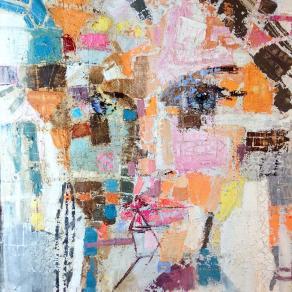 Fabio Modica - Prisoner of Matter XXV - mixed media on canvas - 37x37 inches