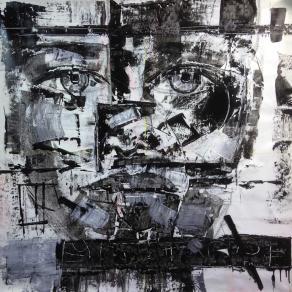 Fabio Modica - Gnosis: Trapped - mixed media on canvas - 37x37 inches