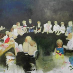 Katrine Claassens. Summer Garden or Between The Interia and The Swimming Pools. Oil and pencil on li