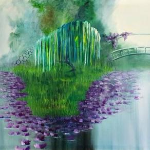 Boganville Pond ( oil on canvas 140x70 cm 2015 )