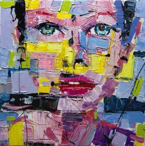 "Fabio Modica - Sketch for ""Gnosis: Love"" - mixed media on canvas - 16x16 inches"