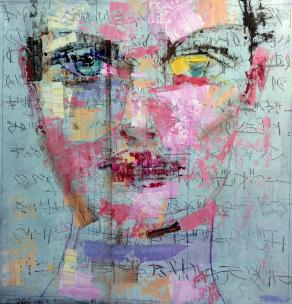 Fabio Modica - Faciem IX - mixed media on canvas - 37x37 inches