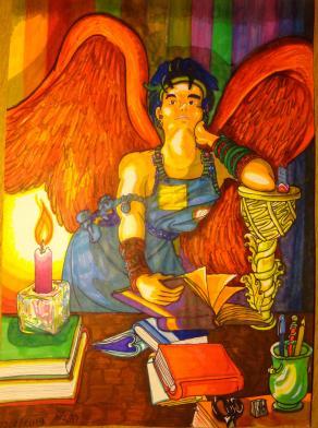 Angelo dalle ali rosse - candela